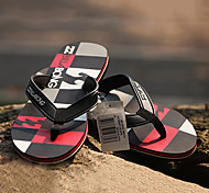Quiksilver Men's Beach Sports Plaid Pattern Black+Red Flip Flops BG005