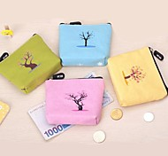 Cute Tree Design Canvas Change Purses (Random Color x1pcs)