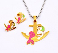 Fashion Color  Mermaid Anchor Titanium Steel  Necklaces and Earrings Jewelry Sets
