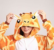 Kigurumi Pajamas Giraffe Leotard/Onesie / Slippers Halloween Animal Sleepwear Yellow Patchwork Coral fleece Kigurumi UnisexHalloween /