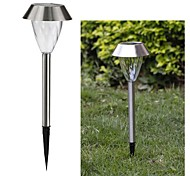 1-LED Weiß Solar-Edelstahl-Garten-Licht-Lampen-Spike Mounted