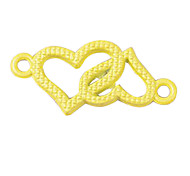 Fashion Acrylic Yellow Heart Charm for Bracelet(10PCS Per Package)