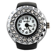 Frauen-Cam-Art-Muster mit Diamant-Quarz Matallic Ring Uhr