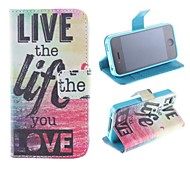 Because of Love and Living Pattern PU Full Body Case with Card Slot and Stand for iPhone 4/4S