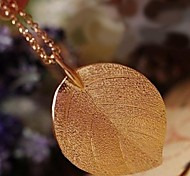 Folhas de Ouro Moda longo Colar