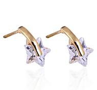 novo ouro das mulheres banhado venda quente brincos estrelas da forma do projeto de zircão