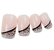 24PCS Silver Edge Leopard Design Pink Nail Art French Tips With Glue