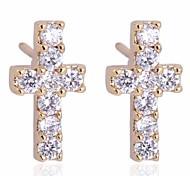 nuovo oro delle donne placcato vendita caldi ed eleganti orecchini di zircone croce