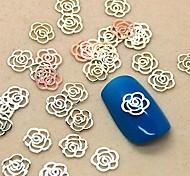 200PCS Hollow Flower Shape Golden Metal Slice Nail Art Decoration