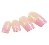 24PCS Pink Fingertip Design Glitter Natural Nail Art French Tips With Glue