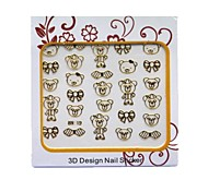 3D Cartoon Metal Nail Art Stickers Tatoo For Cute Baby Girl