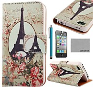 Patrón COCO FUN ® Torre Eiffel Rose PU Leather Case cuerpo completo con protector de pantalla, Stand and Stylus para iPhone 4/4S