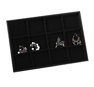 Classic Slap-up 12 Sets Jewelry No Cover Stand Black Paper Leather Flannelette Jewelry Boxes(1 Pc)