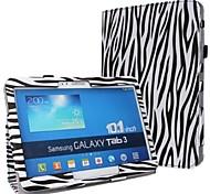 Moda Cebra-Raya PU funda de piel de cuerpo completo con la correa y pegatinas para Samsung Galaxy Tab 10.1 P5200 3