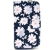 Chrysanthemum Flowers Blooming Pattern PU Leather Full Body Case for Samsung S3 Mini I8190N