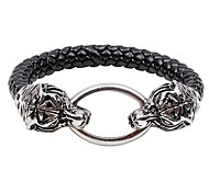 Men's Serpentine Steller Sounded Oval Buckle Dual Leather Bangle