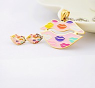 European and  American Color Lip Titanium Steel Necklaces and Earrings Jewelry Sets