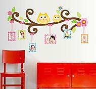 Doudouwo ® Animais dos desenhos animados A coruja feliz Quadro adesivos de parede