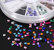 600PCS 12Colours Square Shape Acrylic Rhinestones Wheel Nail Art Decoration