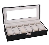 Vintage Black Faux Leather Watch Case Jewelry Box Display for Watches Rings Necklace Cufflinks