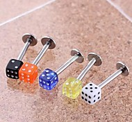 Lureme®316L Surgical Titanium Steel Quartet Dice Single Stud Earrings (Random Color)