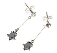 Vintage Star Shape Diamanted Black Apatite Drop Earrings(1 Pair)
