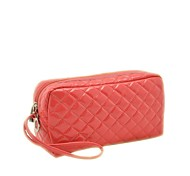 Portable PU Leather Checkered Makeup  Bag Cosmetics Bag