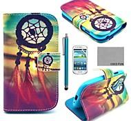 estojo de couro pu Coco divertido ® padrão nó chinês com protetor de tela e stylus para Samsung Galaxy S3 mini-i8190