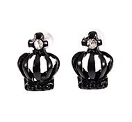 Fashion Diamanted Crown Shape Black Stud Earrings(1 Pair)