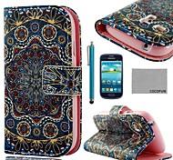 Coco divertido del cuero del patrón tribal de oro de la PU ® con protector de pantalla y el stylus para mini i8190 samsung galaxy s3