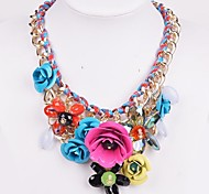 Women's Statement Necklaces Crystal Crystal Alloy Statement Jewelry Fashion Purple Green Blue Pink Rainbow JewelryWedding Party Daily