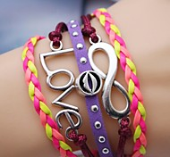 Alloy Love and Mouse Infinite Multilayer Handmade Leather Bracelet