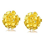 Flower's Secret 14k Yellow Gold Plated Placer Cute Flower Stud Earrings NEVER FADE GOLD QUALITY