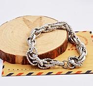 argent multicouches torsion chaîne acier inoxydable des bracelets des hommes de mode