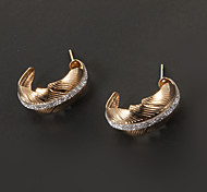 klassische Federform goldenen Bandohrring (1 Paar)