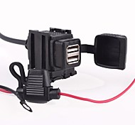 Waterproof  Motorcycle Two USB  Charger Power Supply System - Black