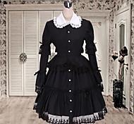 De cuello redondo de manga larga hasta la rodilla Negro vestido de algodón Lolita Clásico