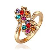 Women `s elegante Multi-colored zircone intarsiato in oro placcato l'anello (Champagne / Oro)
