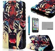 COCO FUN ® del modelo del tigre feroz PU Leather Case cuerpo completo con protector de pantalla, Stand and Stylus para iPhone 4/4S