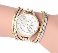 Women's Golden Dial Braided Plastic Band Quartz Analog Wrist Watch with Rhinestone (Assorted Colors)