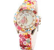 Women's Fashion Flower Pattern Silicone Band Quartz Wrist Watch (Assorted Colors)