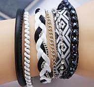 Multilayer Black Zircon Handmade Leather Bracelet