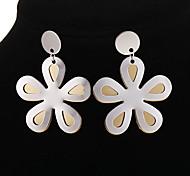 Fashion Stainless Steel Flower Shape Drop Earrings(1 Pair)