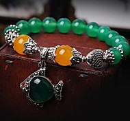Noble (Fish) Green Agate Topaz Marrow Bead Bracelet (Green) (1 PC)