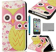 COCO FUN® Pink Flower Owl Pattern PU Leather Full Body Case with Screen Protector, Stand and Stylus for iPhone 4/4S