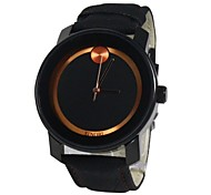 Women's Black Round Dial PU Band Quartz Analog Wrist Watch(Assorted Colors)