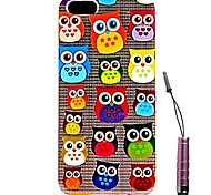 Colorful Cute Owls Pattern Hard Case & Touch Pen for iPhone 4/4S
