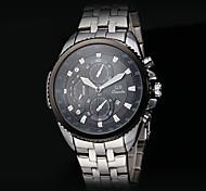Men's Fashion Military Style Calendar Steel Band Quartz Wrist Watch