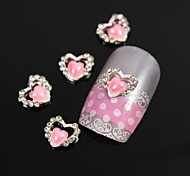10pcs Pink Heart Pearl Rhinestone Love DIY Alloy Nail Art Decoration
