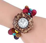 Women's Sunflower-Shaped Coconut Wooden Bracelet Watch (1Pc)
